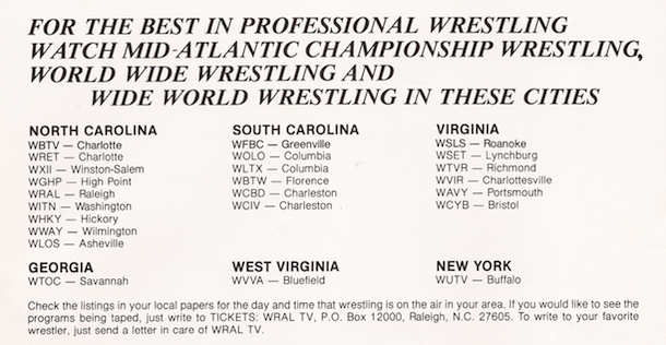 Studio Wrestling: Jim Crockett Promotions Television Affiliates - 1979
