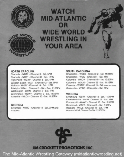 Mid-Atlantic Wrestling Gateway - TV Stations 1977